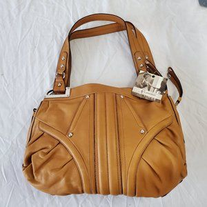 B Makowsky Tan Leather Handbag